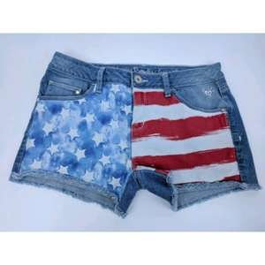 Justice Girl's 18R Blue Jean Shorts American Flag